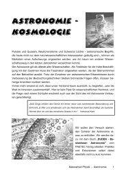 Astronomie - Kosmologie - Gymnasium Neufeld