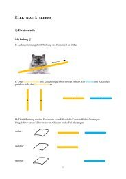 ELEKTRIZITÄTSLEHRE 1) Elektrostatik