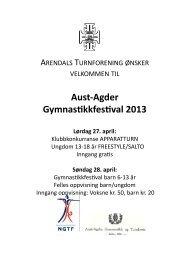 Aust-‐Agder Gymnas*kkfes*val 2013 Lørdag 27. april