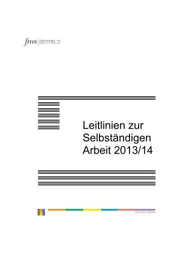 Leitlinien zur Selbständigen Arbeit 2013/14 - Gymnasium und ...