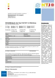 Anmeldung TujuTreff 2011 Oldenburg