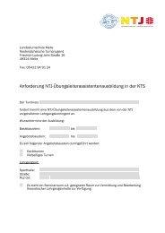 Anforderung NTJ-Übungsleiterassistentenausbildung in der KTS