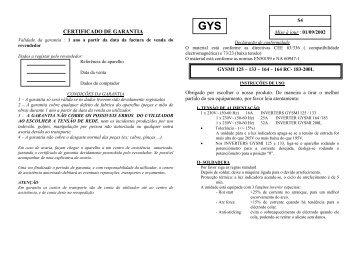 CERTIFICADO DE GARANTIA - GYS