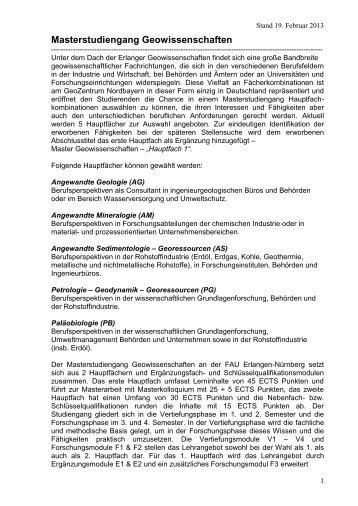 Masterstudiengang Geowissenschaften - GeoZentrum Nordbayern