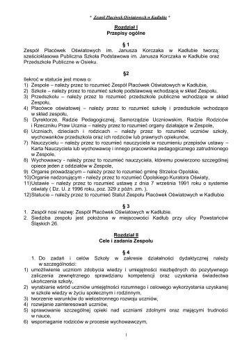 Rozdział I - Gminny Zarząd Oświaty i Wychowania w Strzelcach ...