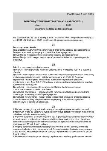 Rozporządzenie Ministra Edukacji Narodowej w sprawie nadzoru ...