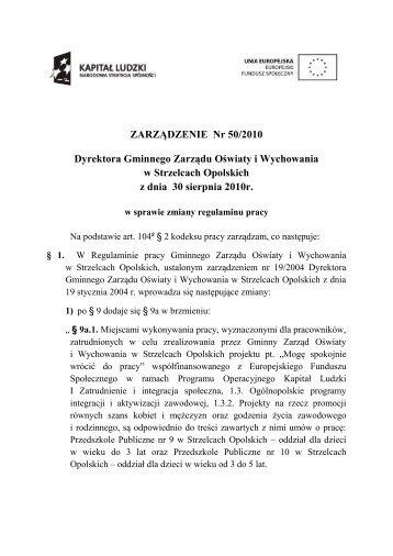 ZARZĄDZENIE Nr 50/2010 Dyrektora Gminnego Zarządu Oświaty i ...