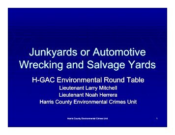 Junkyards or Automotive Wrecking and Salvage Yards