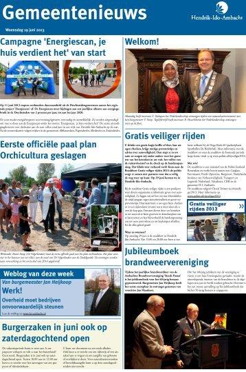 Gemeentenieuws woensdag 19 juni 2013 - Hendrik-Ido-Ambacht