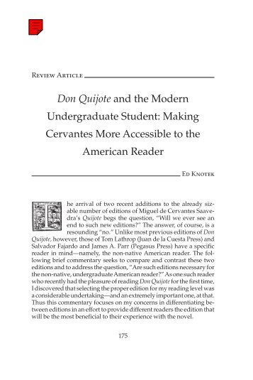 Don Quijote and the Modern Undergraduate Student ... - H-Net