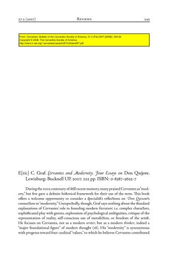 Cervantes and Modernity. Four Essays on Don Quijote. - H-Net
