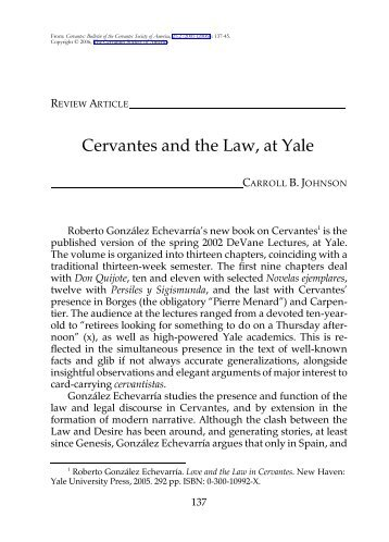 Cervantes and the Law, at Yale - H-Net