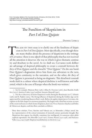The Function of Skepticism in Part I of Don Quijote - H-Net