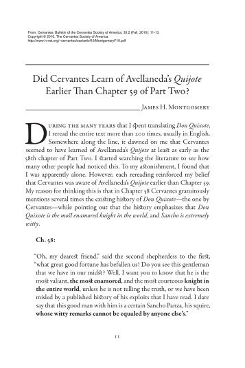 Did Cervantes Learn of Avellaneda's Quijote Earlier Than ... - H-Net