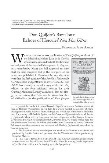Don Quijote's Barcelona: Echoes of Hercules' Non Plus Ultra - H-Net