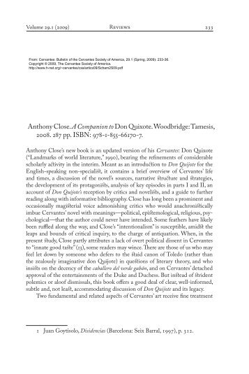 Review of Anthony Close's book: A Companion to Don Quixote - H-Net