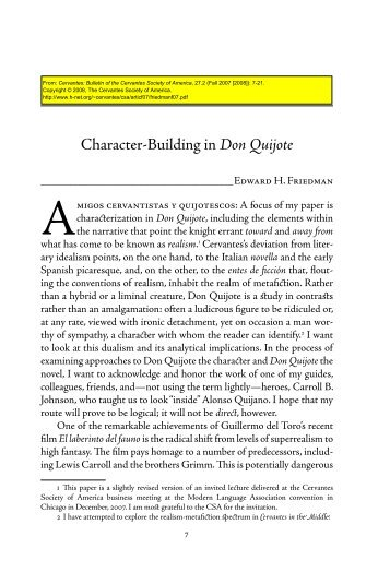 Character-Building in Don Quijote - H-Net