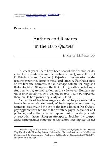 Authors and Readers in the 1605 Quixote - H-Net