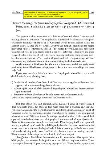 Howard Mancing. The Cervantes Encyclopedia. Westport, CT - H-Net