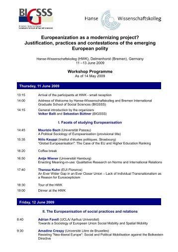 Programme - Hanse-Wissenschaftskolleg
