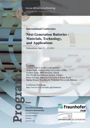Next Generation Batteries - Hanse-Wissenschaftskolleg