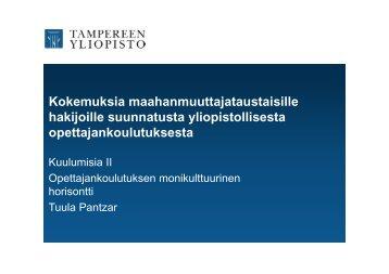 Lehtori Tuula Pantzar, Tampereen yliopisto - HAAGA-HELIA ...