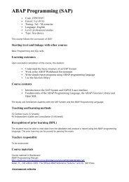ABAP Programming (SAP) - HAAGA-HELIA ammattikorkeakoulu