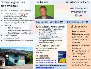 Flyer über die Seminare in der Haas Akademie