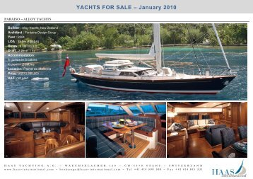 YACHTS FOR SALE ? January 2010 - Haas International