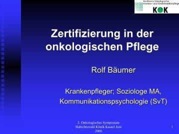 Zertifizierung in der onkologischen Pflege - Habichtswald-Klinik