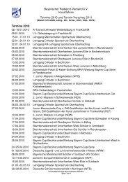 Bayerischer Radsport-Verband e.v. Kunstfahren Termine 2010 und ...