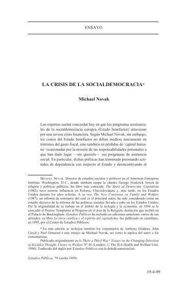 la crisis de la socialdemocracia - Centro de Estudios Públicos