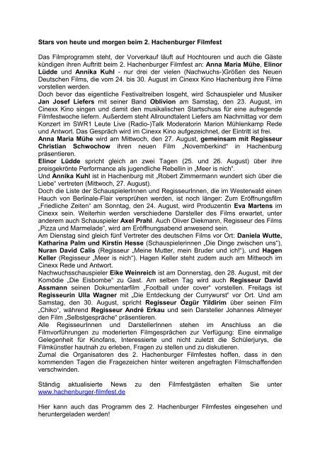 """""""Stars von heute und morgen beim 2. Hachenburger Filmfest"""" (PDF, ca"""