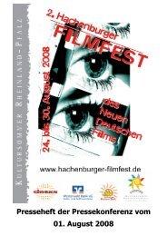 Presseheft HFF 2008 - Hachenburger Filmfest