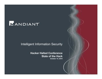 Intelligent Information Security - Hacker Halted