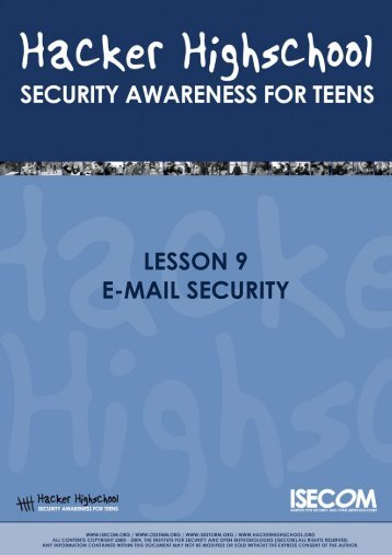 HHS - Lesson 9 - Email Security - Hacker Highschool