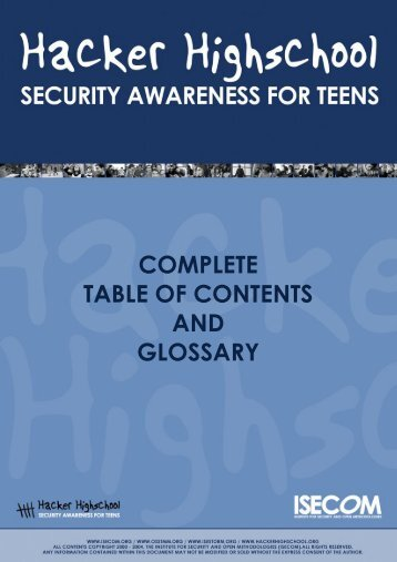 HHS - Complete Table of Contents and Glossary - Hacker Highschool