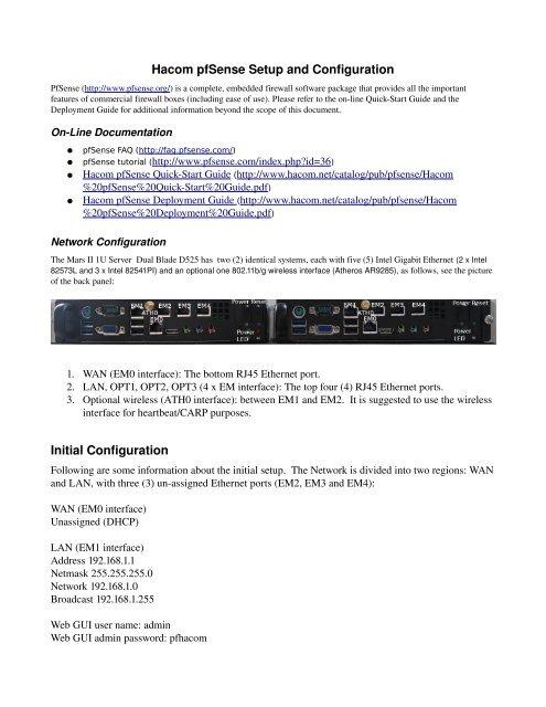 pfsense note - Mars II Twin Blade D525 1U Server pdf - Hacom
