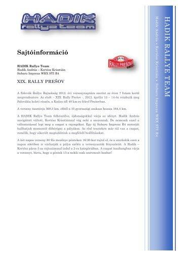 Rally Pre?ov el?zetes - HADIK Rallye Team