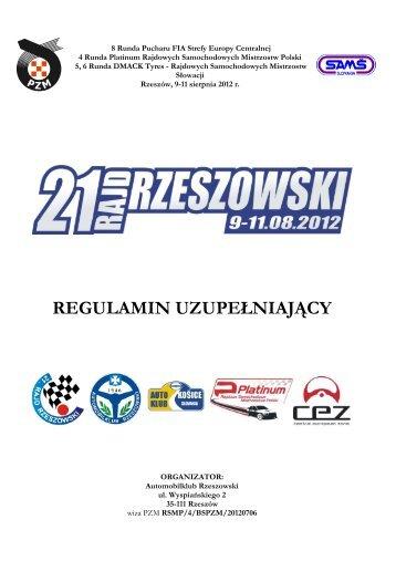 Regulamin Uzupe?niaj?cy RSMP 21 Rajd Rzeszowski