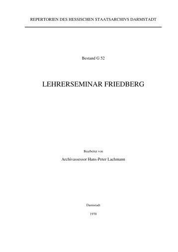 lehrerseminar friedberg - Hessisches Archiv-Dokumentations - Hessen