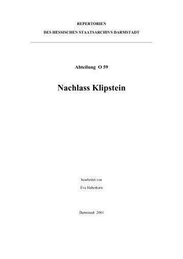 A. Biografie Bernhard Klipstein - Hessen