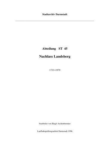 Nachlass Landsberg - Hessisches Archiv-Dokumentations - Hessen