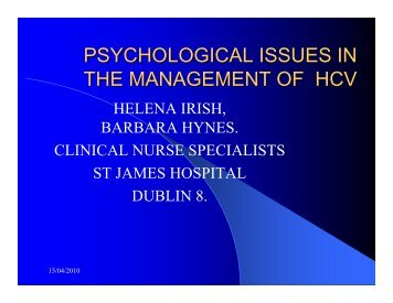 psychological issues in the management of hcv - Irish Haemophilia ...