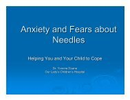 Anxiety and Fears about Needles - Irish Haemophilia Society