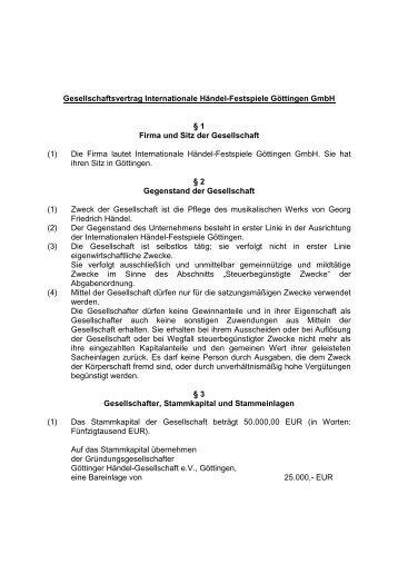 Gesellschaftervertrag (pdf) - Göttingen, Internationale Händel ...
