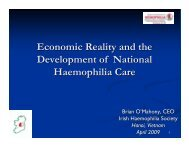 Economic Reality and the Development of National Haemophilia Care