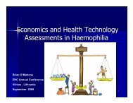 Economics and Health Technology Assessments in Haemophilia
