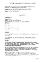 Protokoll der Vorstandssitzung des Fördervereins 09.01.2012 Seite ...