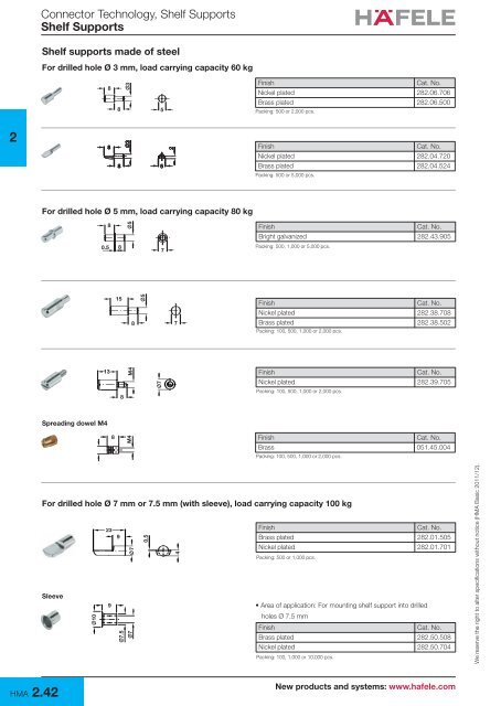 HAFELE PLASTIC SHELF SUPPORTS WITH STEEL Pin 3mm 100 PCS